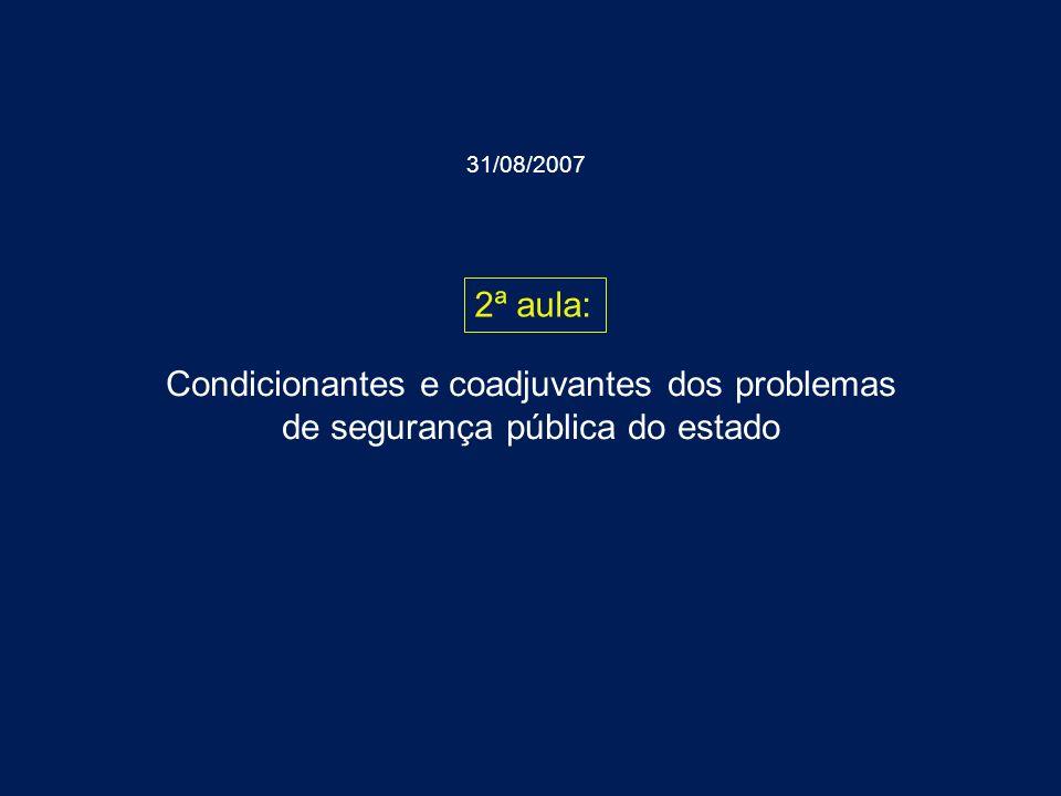 31/08/2007 2ª aula: Condicionantes e coadjuvantes dos problemas de segurança pública do estado