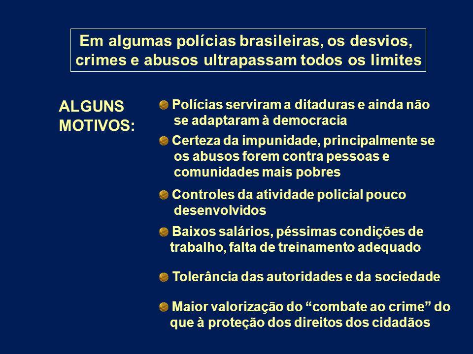 Em algumas polícias brasileiras, os desvios,