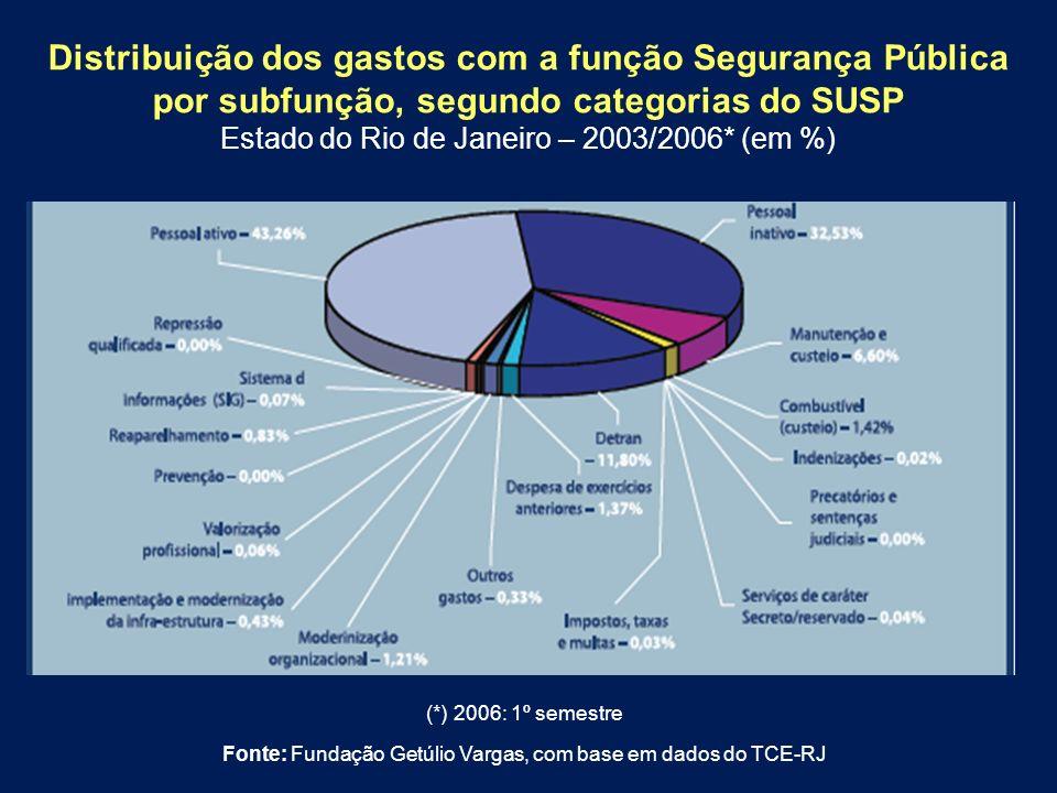 Distribuição dos gastos com a função Segurança Pública