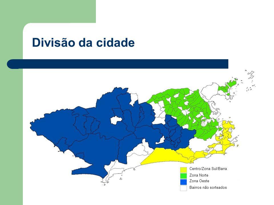 Divisão da cidade Centro/Zona Sul/Barra Zona Norte Zona Oeste