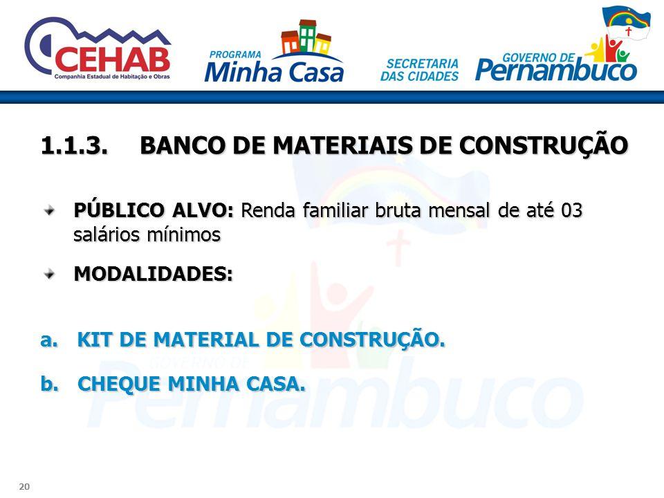 1.1.3. BANCO DE MATERIAIS DE CONSTRUÇÃO