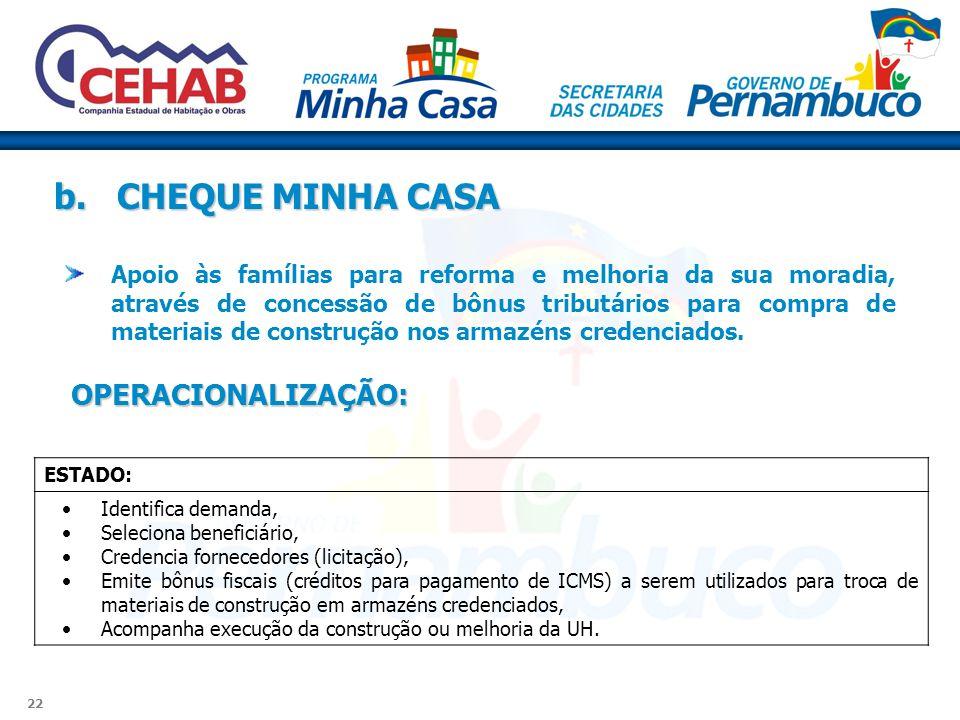 b. CHEQUE MINHA CASA OPERACIONALIZAÇÃO: