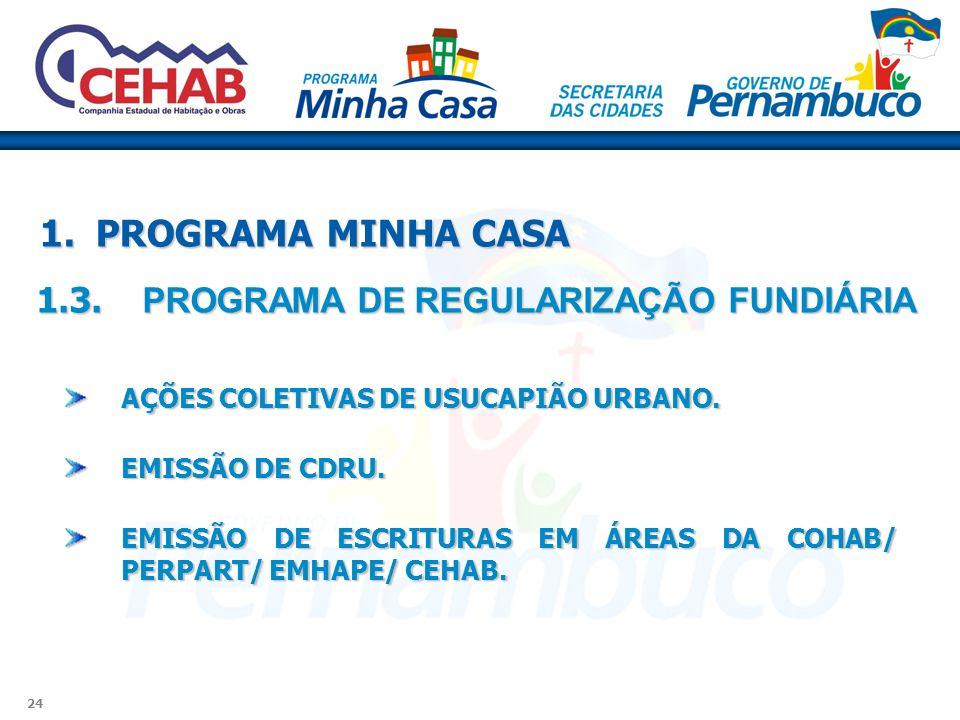 1. PROGRAMA MINHA CASA 1.3. PROGRAMA DE REGULARIZAÇÃO FUNDIÁRIA