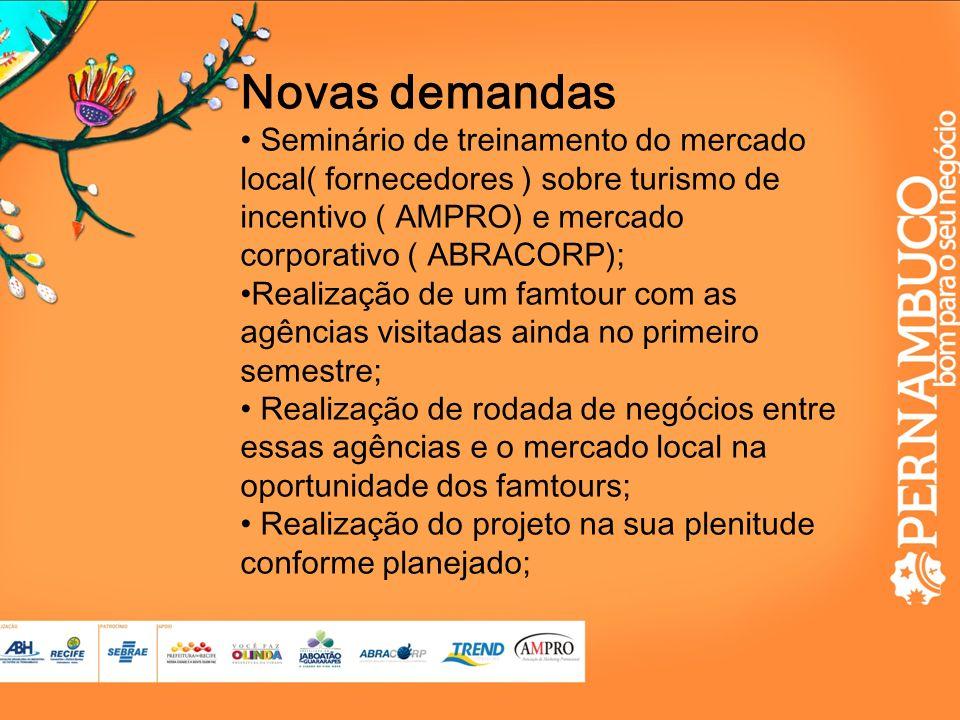 Novas demandas Seminário de treinamento do mercado local( fornecedores ) sobre turismo de incentivo ( AMPRO) e mercado corporativo ( ABRACORP);