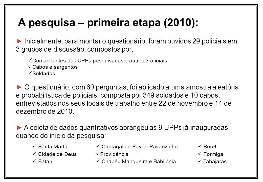 A pesquisa – primeira etapa (2010):