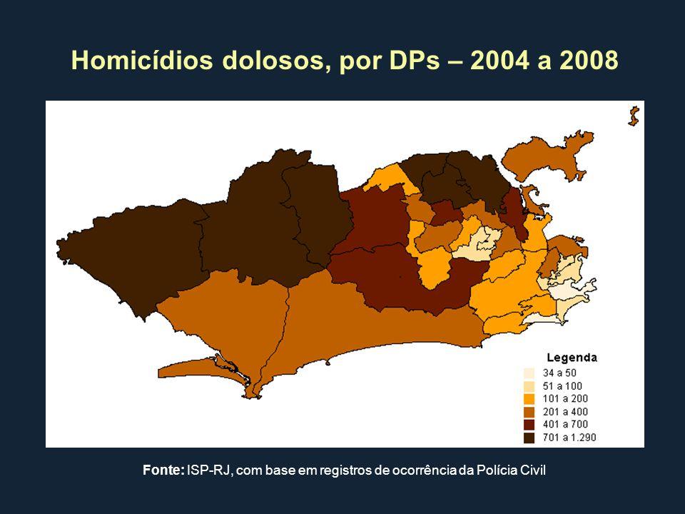 Homicídios dolosos, por DPs – 2004 a 2008