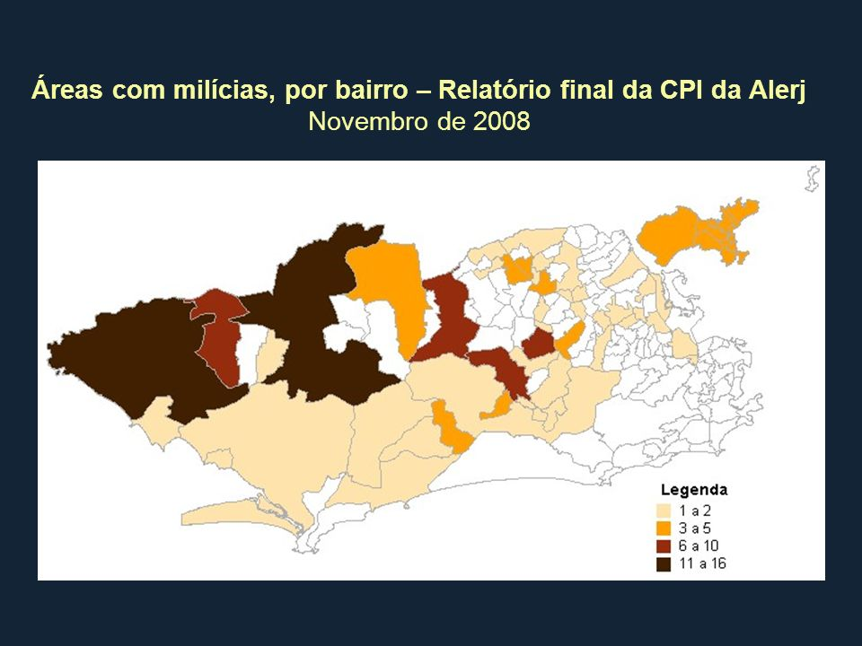 Áreas com milícias, por bairro – Relatório final da CPI da Alerj