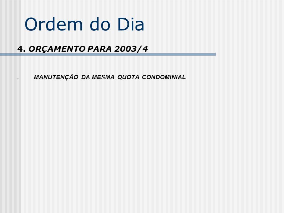 Ordem do Dia 4. ORÇAMENTO PARA 2003/4