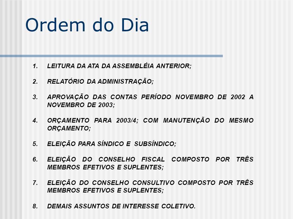 Ordem do Dia LEITURA DA ATA DA ASSEMBLÉIA ANTERIOR;