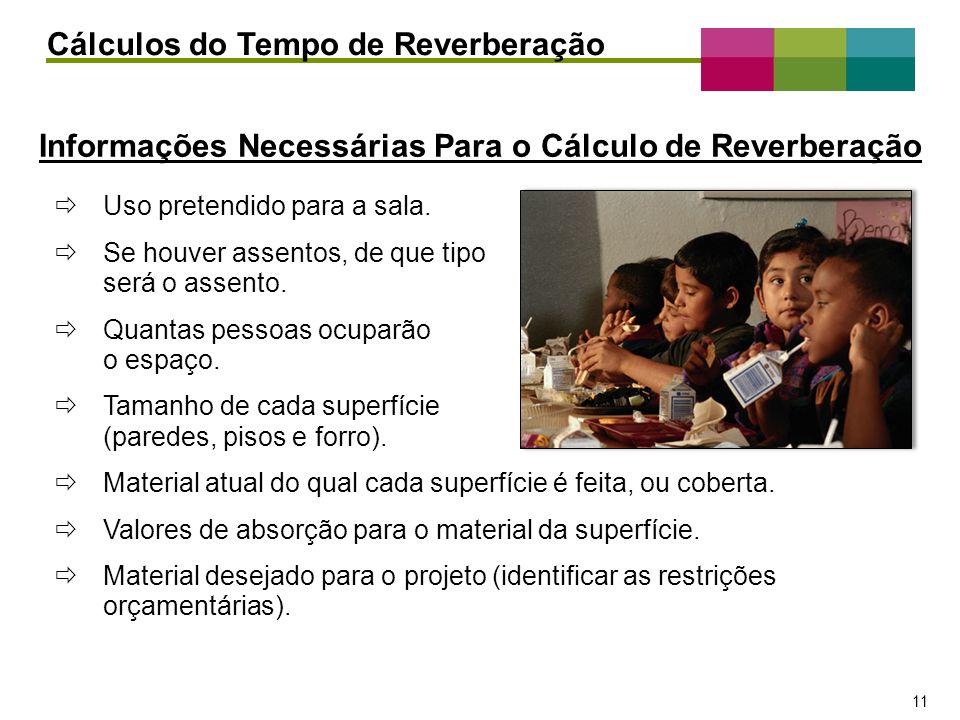 Informações Necessárias Para o Cálculo de Reverberação