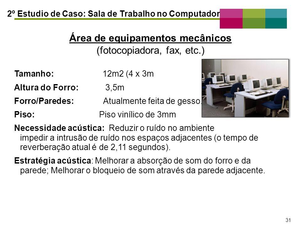 Área de equipamentos mecânicos (fotocopiadora, fax, etc.)