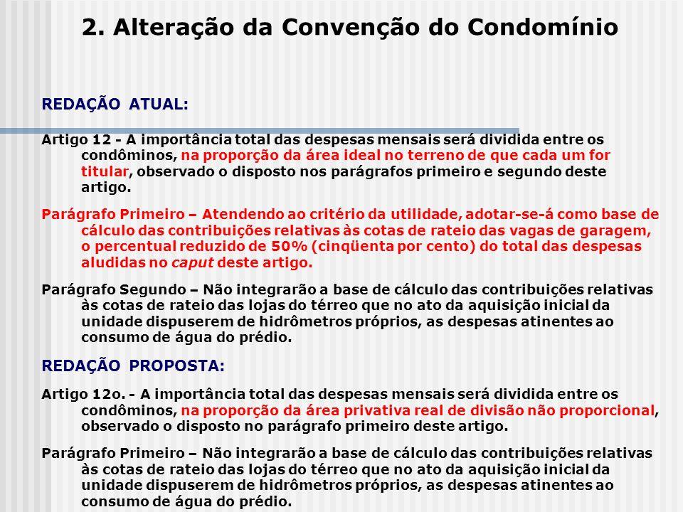 2. Alteração da Convenção do Condomínio