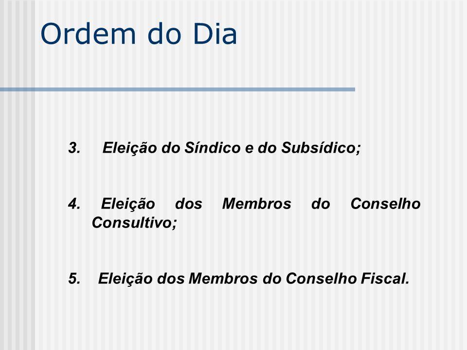 Ordem do Dia 3. Eleição do Síndico e do Subsídico;