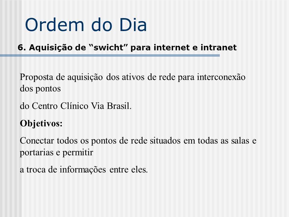 Ordem do Dia 6. Aquisição de swicht para internet e intranet. Proposta de aquisição dos ativos de rede para interconexão dos pontos.