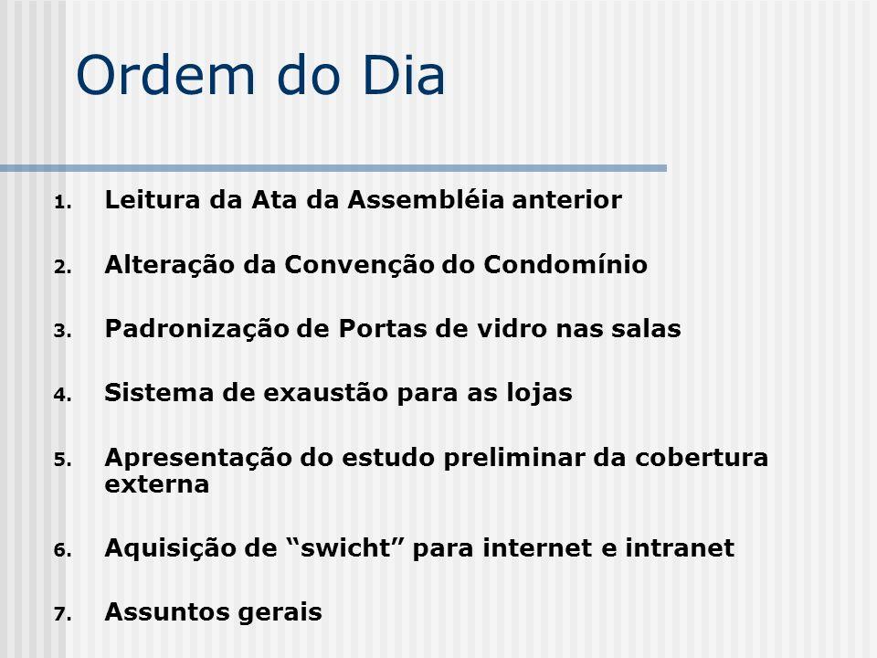 Ordem do Dia Leitura da Ata da Assembléia anterior