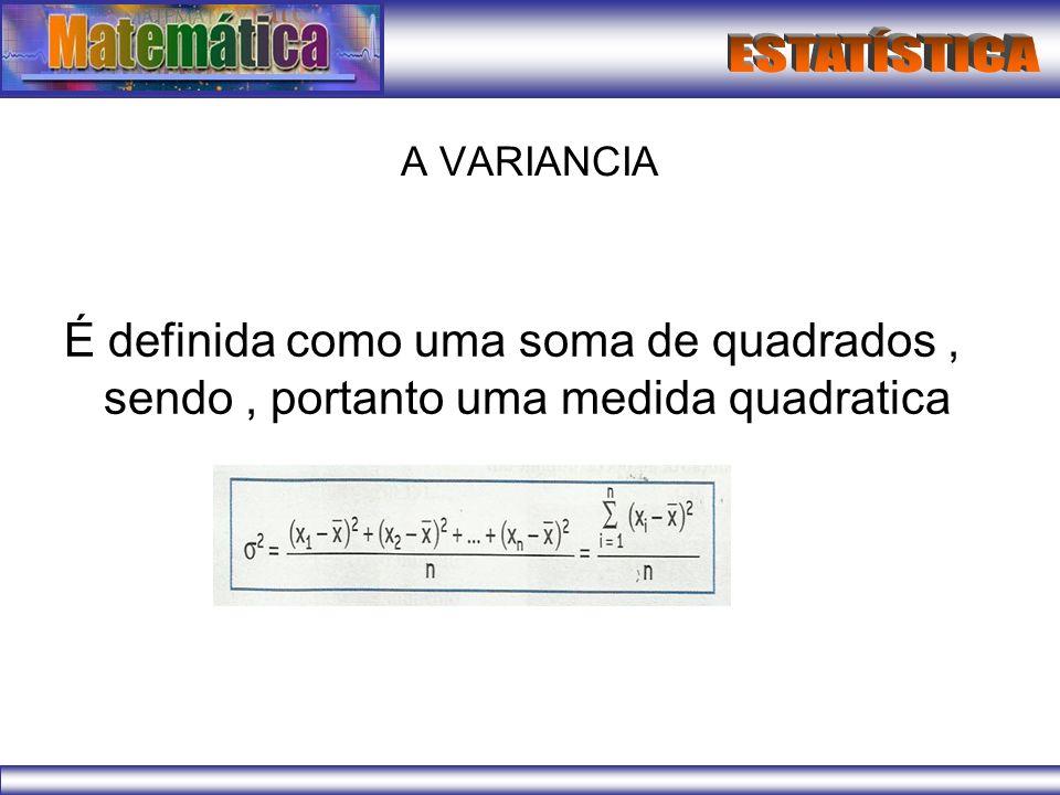A VARIANCIA É definida como uma soma de quadrados , sendo , portanto uma medida quadratica
