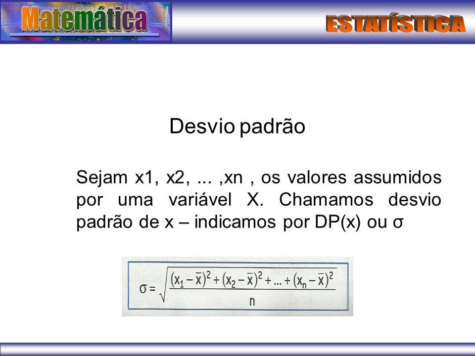 Desvio padrão Sejam x1, x2, ... ,xn , os valores assumidos por uma variável X.