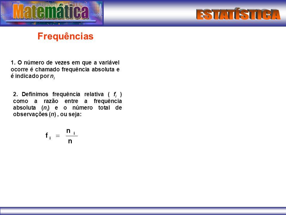 Frequências1. O número de vezes em que a variável ocorre é chamado frequência absoluta e é indicado por ni.