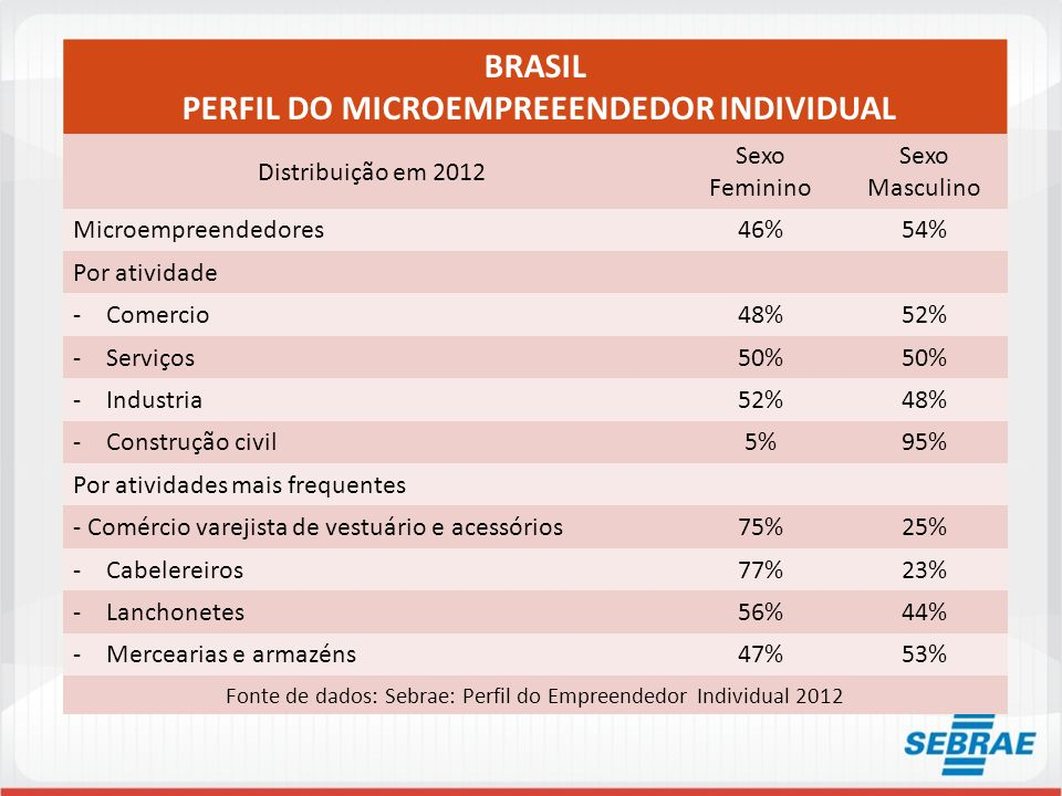 PERFIL DO MICROEMPREEENDEDOR INDIVIDUAL