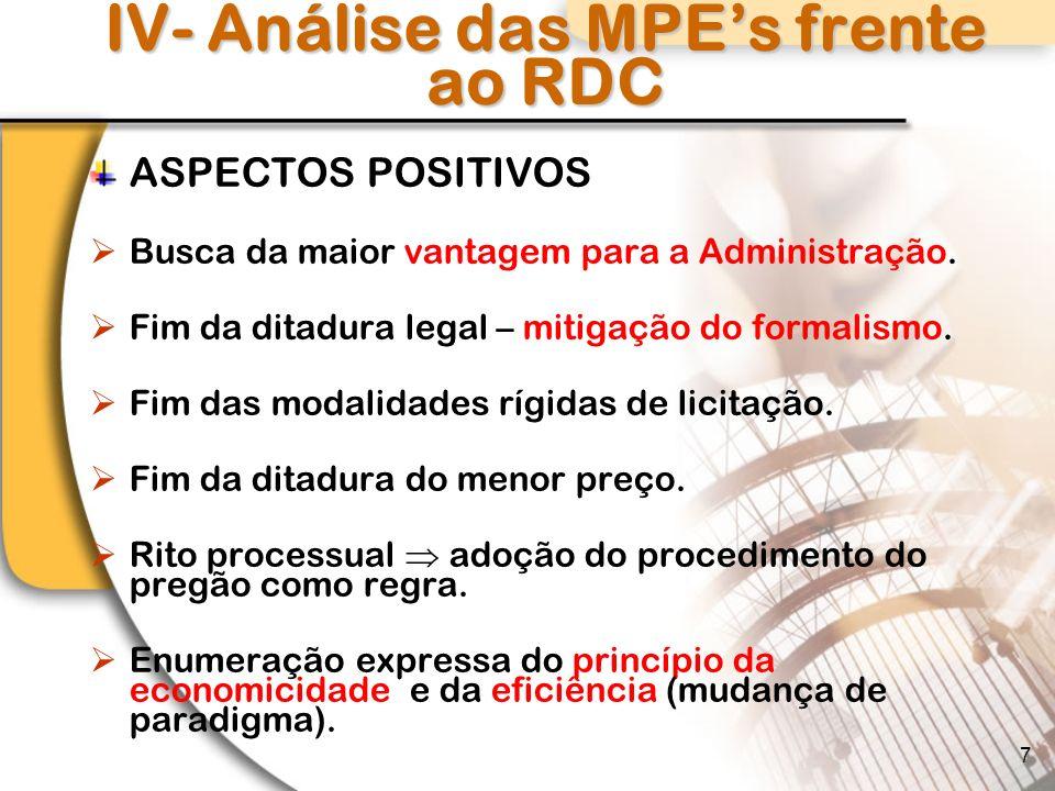 IV- Análise das MPE's frente ao RDC