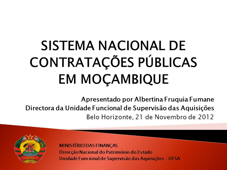 SISTEMA NACIONAL DE CONTRATAÇÕES PÚBLICAS EM MOÇAMBIQUE