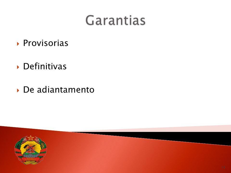 Garantias Provisorias Definitivas De adiantamento