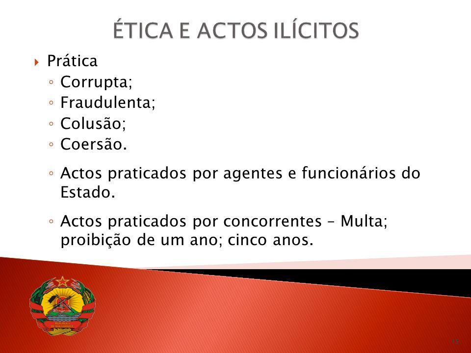 ÉTICA E ACTOS ILÍCITOS Prática Corrupta; Fraudulenta; Colusão;