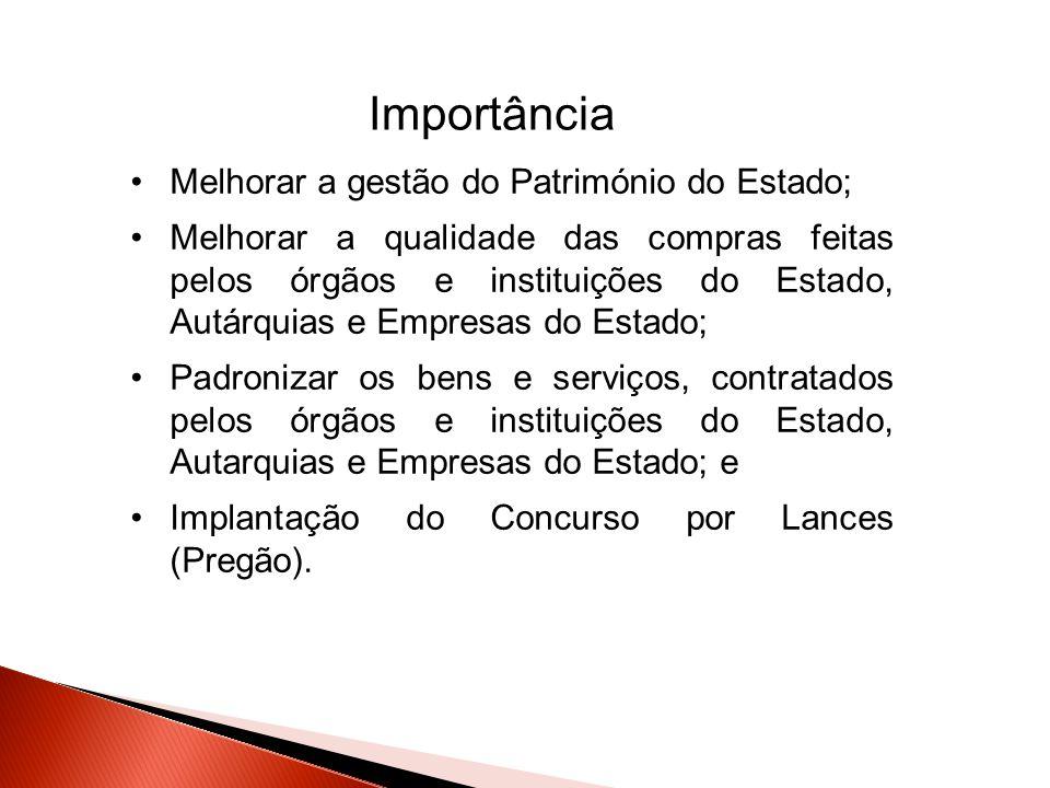 Importância Melhorar a gestão do Património do Estado;