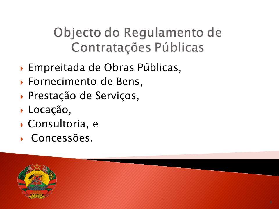 Objecto do Regulamento de Contratações Públicas