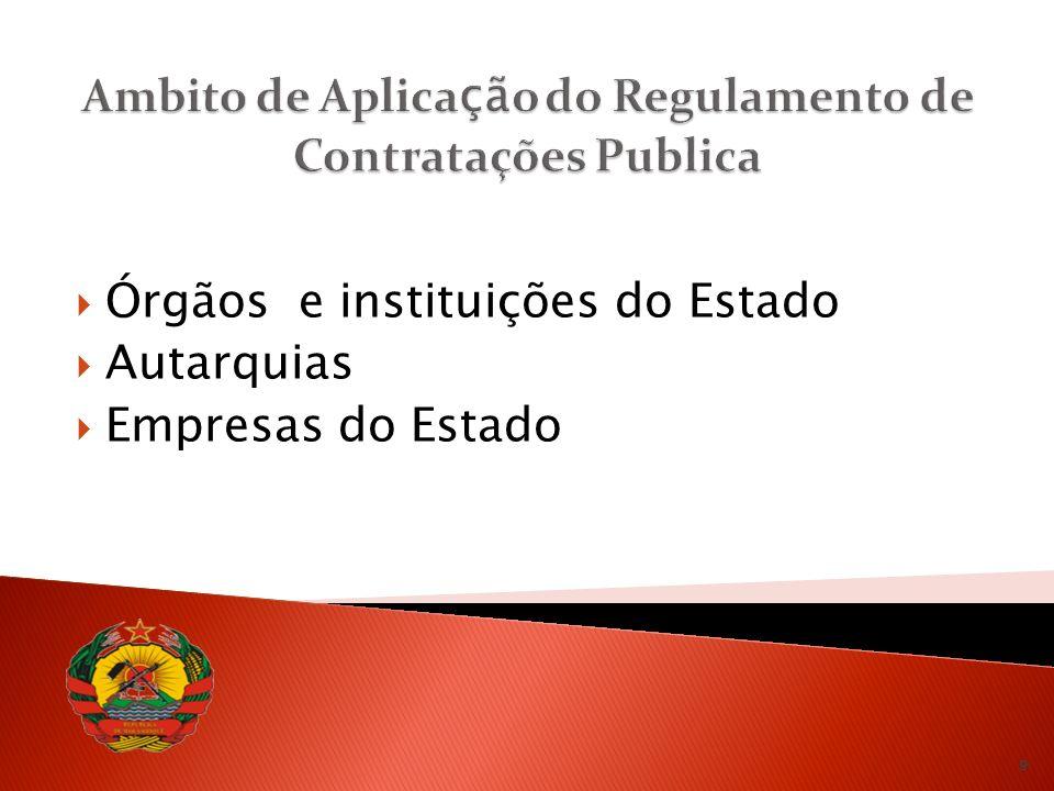 Ambito de Aplicação do Regulamento de Contratações Publica