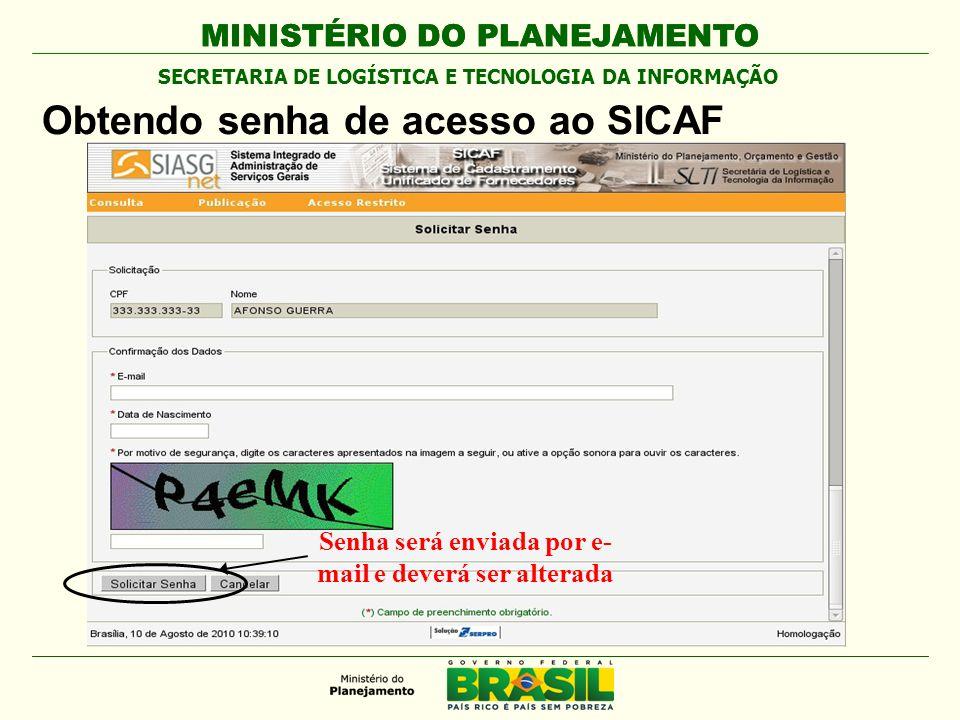 Obtendo senha de acesso ao SICAF