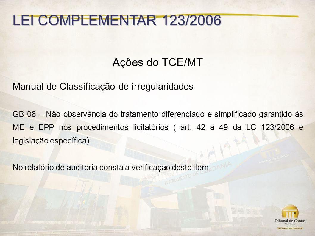 LEI COMPLEMENTAR 123/2006 Ações do TCE/MT