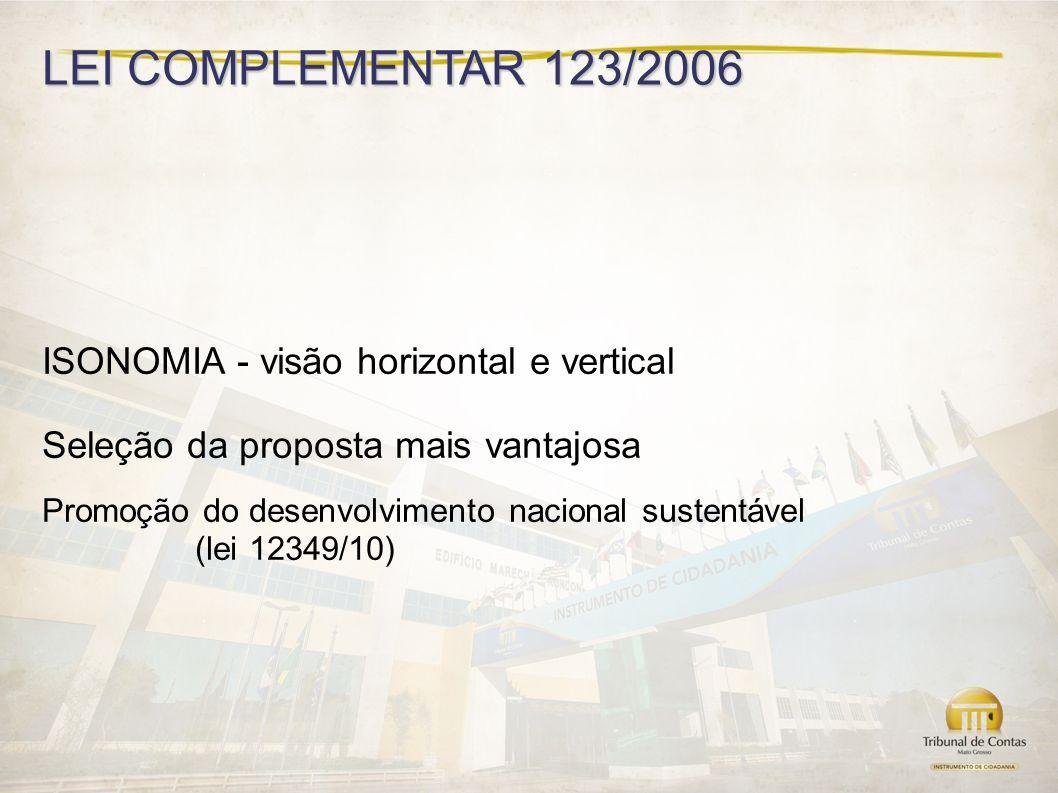 LEI COMPLEMENTAR 123/2006 ISONOMIA - visão horizontal e vertical