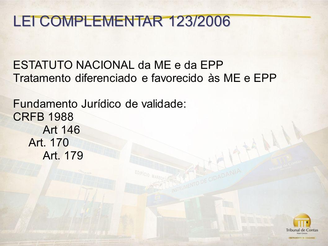 LEI COMPLEMENTAR 123/2006 ESTATUTO NACIONAL da ME e da EPP