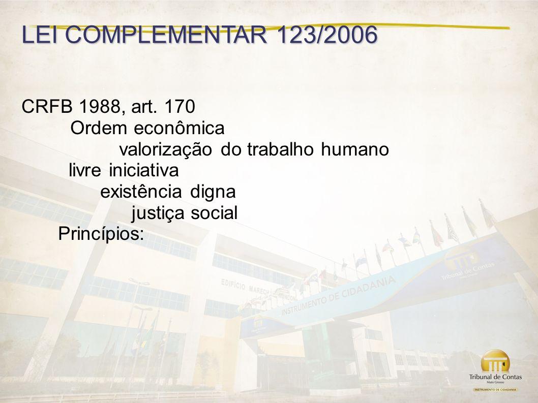 LEI COMPLEMENTAR 123/2006 CRFB 1988, art. 170 Ordem econômica
