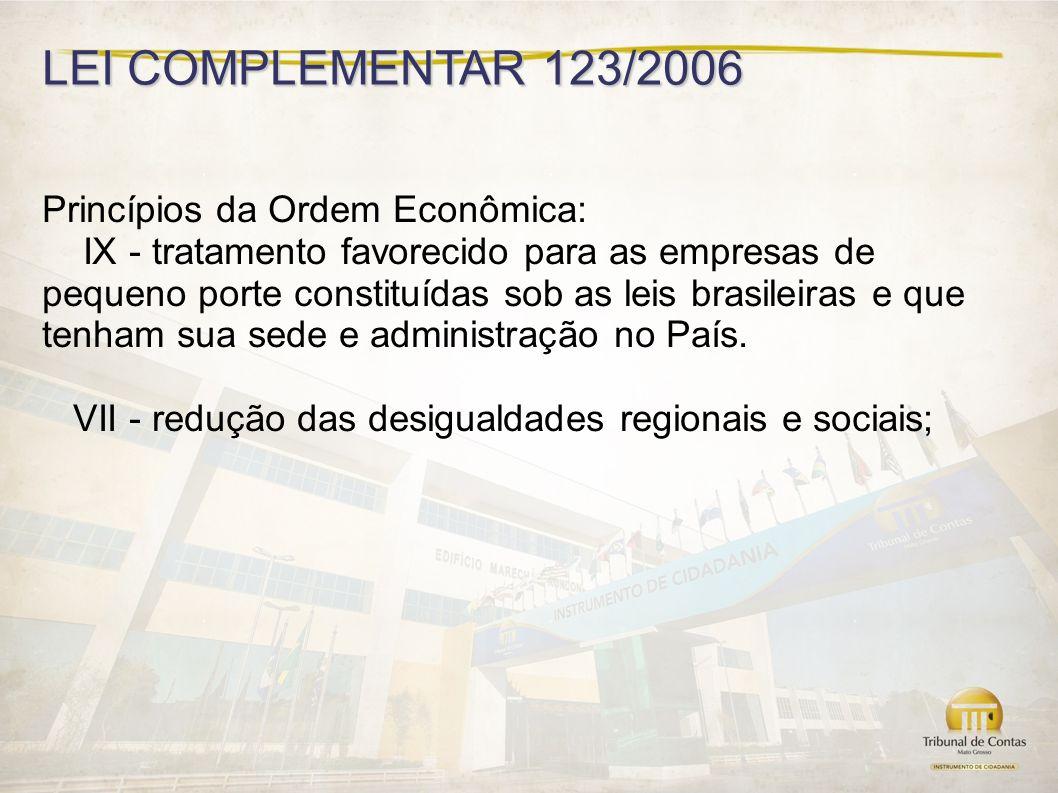 LEI COMPLEMENTAR 123/2006 Princípios da Ordem Econômica:
