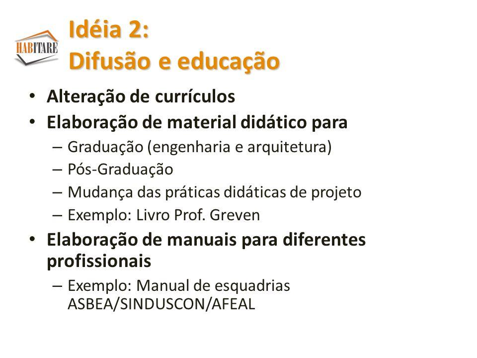 Idéia 2: Difusão e educação
