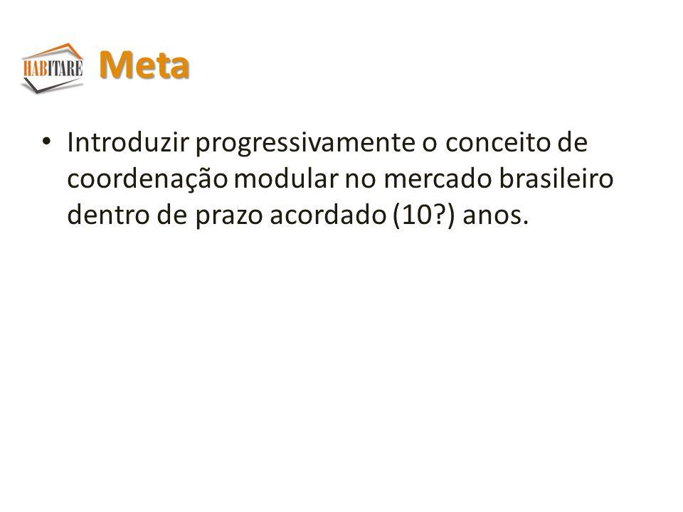 Meta Introduzir progressivamente o conceito de coordenação modular no mercado brasileiro dentro de prazo acordado (10 ) anos.