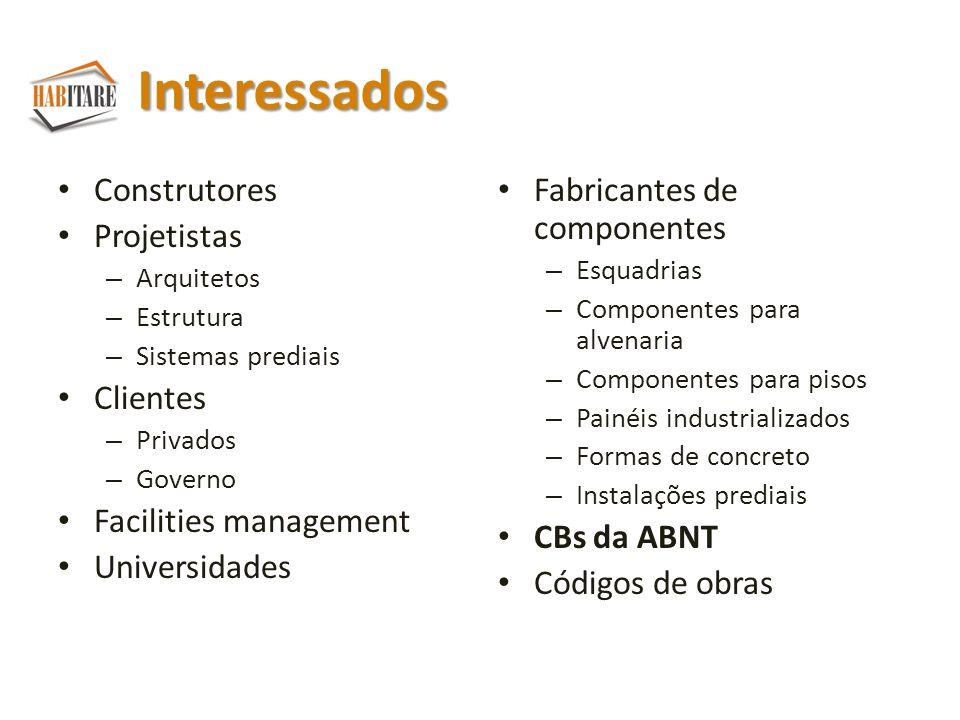 Interessados Construtores Projetistas Clientes Facilities management