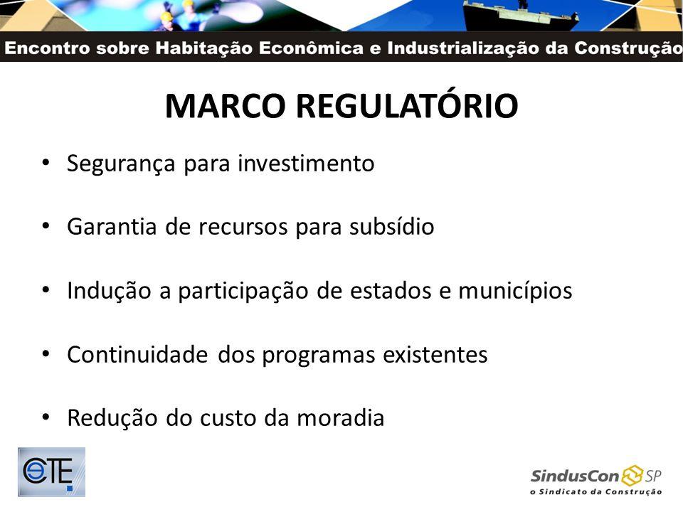MARCO REGULATÓRIO Segurança para investimento