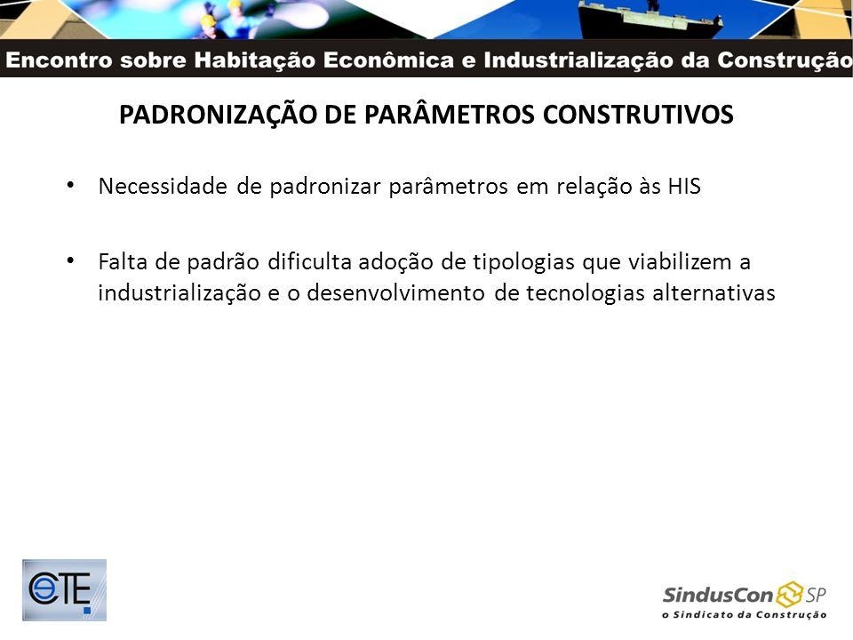 PADRONIZAÇÃO DE PARÂMETROS CONSTRUTIVOS