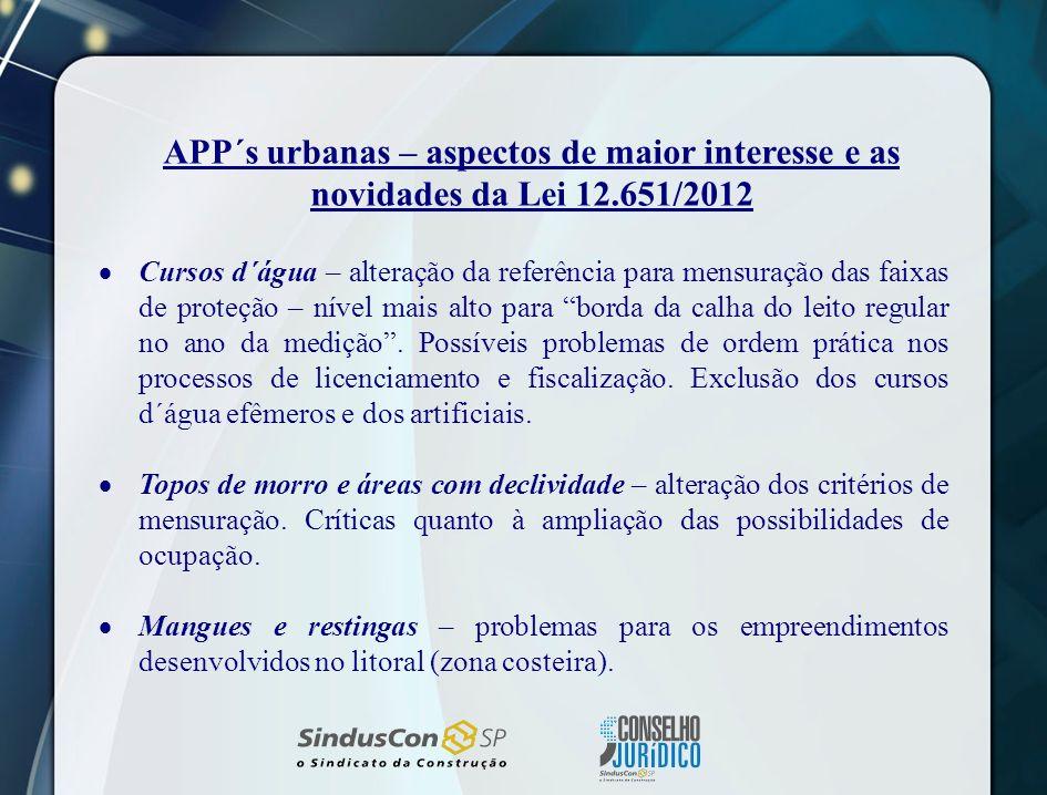 APP´s urbanas – aspectos de maior interesse e as novidades da Lei 12
