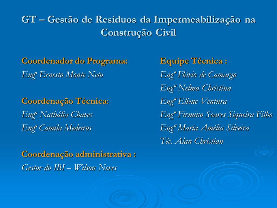 GT – Gestão de Resíduos da Impermeabilização na Construção Civil