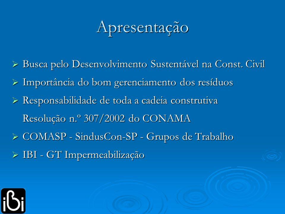 Apresentação Busca pelo Desenvolvimento Sustentável na Const. Civil