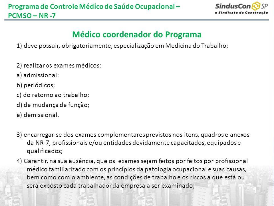 Programa de Controle Médico de Saúde Ocupacional – PCMSO – NR -7
