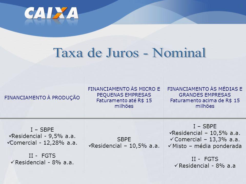 Taxa de Juros - Nominal I – SBPE Residencial - 9,5% a.a.