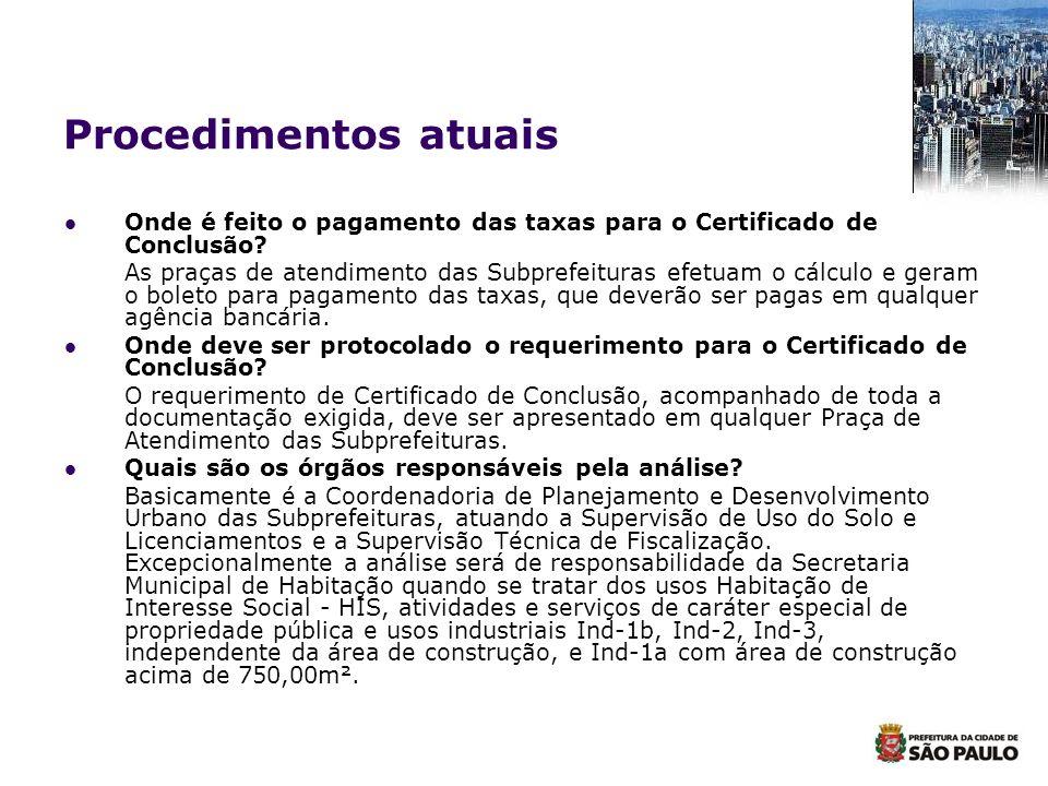 Procedimentos atuais Onde é feito o pagamento das taxas para o Certificado de Conclusão