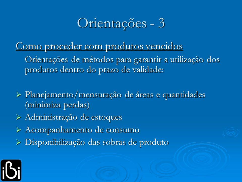 Orientações - 3 Como proceder com produtos vencidos