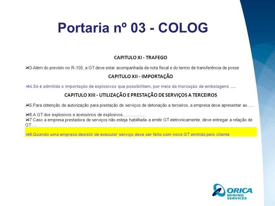 Portaria nº 03 - COLOG CAPITULO XI - TRAFEGO CAPITULO XII - IMPORTAÇÃO