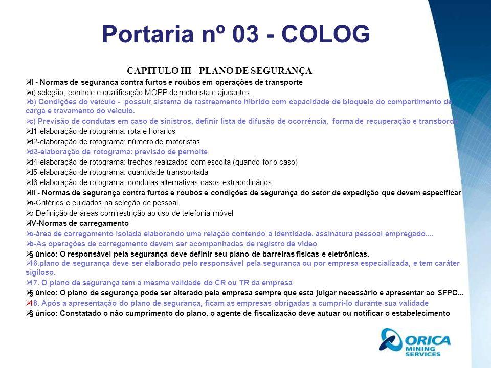 CAPITULO III - PLANO DE SEGURANÇA